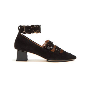 Medium rue stcastelo laser cut suede pumps