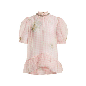 Medium christopher kane floral print gingham silk organza top