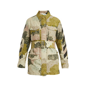 Medium off white floral print point collar belted cotton jacket