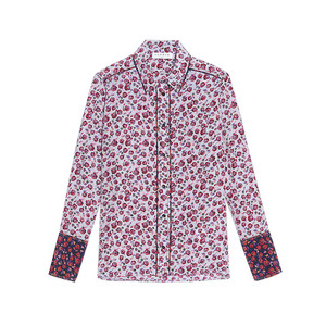 Medium sandro silk shirt printed with roses