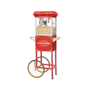 Medium great northern popcorn red 4 oz. ounce foundation old fashioned popcorn popper and cart