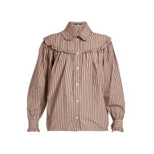 Medium alexa chung striped frill trimmed cotton shirt