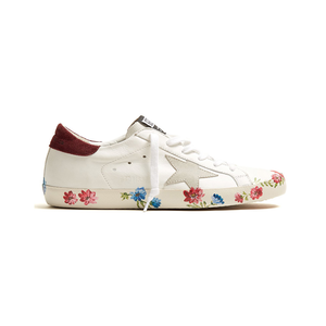 Medium golden goose super star low top floral print leather trainers