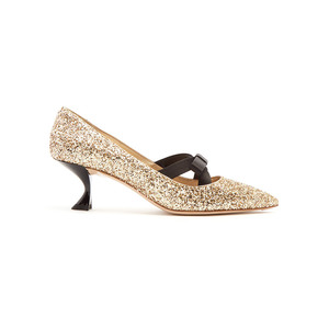 Medium miu miu glitter and bow embellished point toe pumps