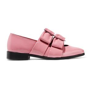 Medium idette bow embellished patent leather point toe flats