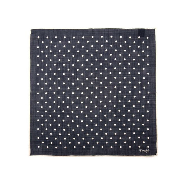 Large drake s polka dot pocket square in navy