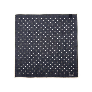 Medium drake s polka dot pocket square in navy