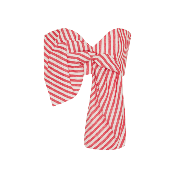 Toluca Cropped Bow-embellished Striped Linen Top - Red Johanna Ortiz Buy Cheap Order 2018 Cheap Online 7BrzH