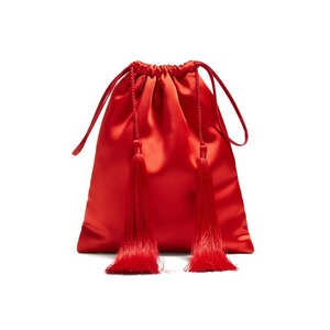 Medium attico tassel trimmed satin pouch