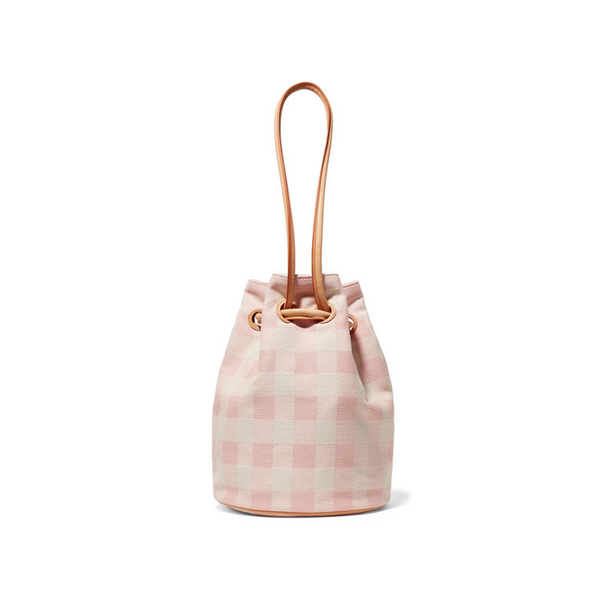 Large mansur g leather trimmed checked cotton canvas bucket bag