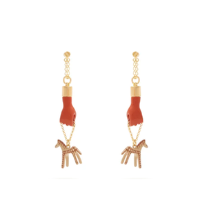 Medium femininities hand and horse drop earrings