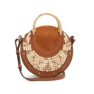 Medium chloe pixie small leather and raffia cross body bag