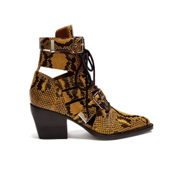 Large chloe rylee snake effect leather ankle boots