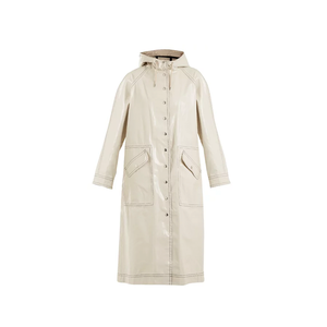 Medium alexa chung contrast stitching hooded cotton blend raincoat