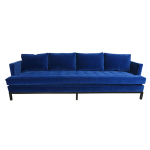 Medium   large harvey probber shelter style sofa in cerulean blue velvet copy