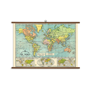 Medium cavallini world map vintage school chart
