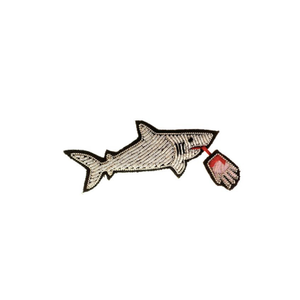 Medium shark bite emboirdered pin