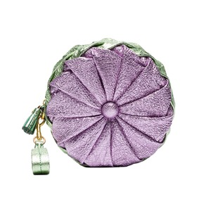 Medium purple and green metallic pillow leather clutch