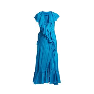 Medium loup charmant callela ruffled silk wrap dress