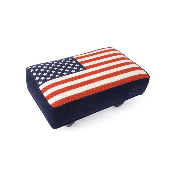 Large jonathan adler american flag needlepoint stool