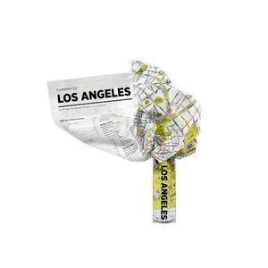 Medium crumpled city map  los angeles