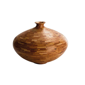 Medium contemporary american wooden vase  heart pine  handmade  available now