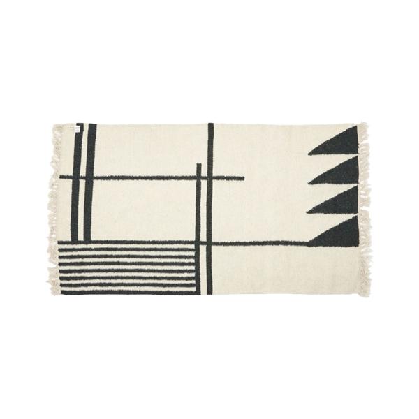 Large ferm livingkelim rug   black lines   smal