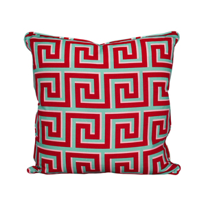 Medium greek key cushion mint cardinal 2