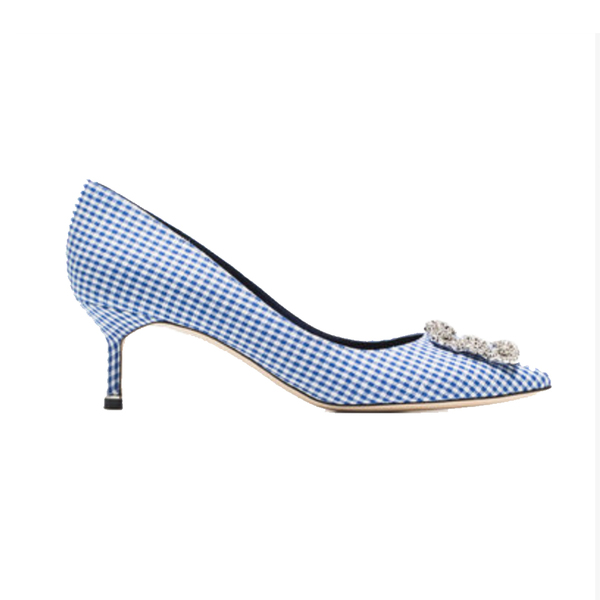 manolo blahnik white and navy hangisi 50 gingham cotton pumps rh semaine com