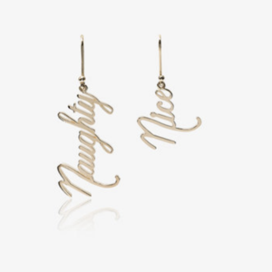 Medium 14kt yellow gold naughty and nice earrings