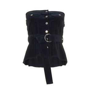 Medium navy blue button front corset