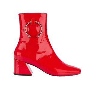 Medium red patent leather nizip 60 boots