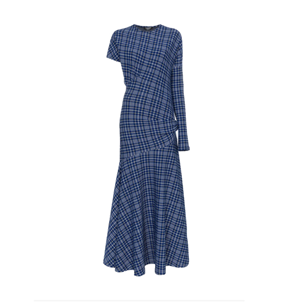 Large single sleeve check asymmetric dres
