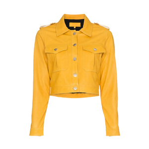 Medium skiim yellow cropped leather jacket
