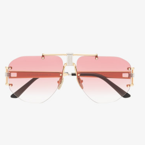 Large pink aviator metal sunglasses