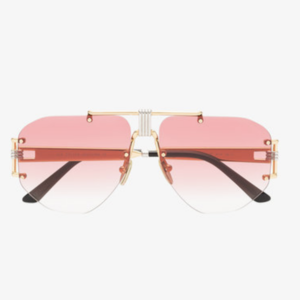 Medium pink aviator metal sunglasses