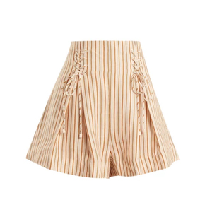 Medium zimmermanpainted heart lace up striped linen shorts
