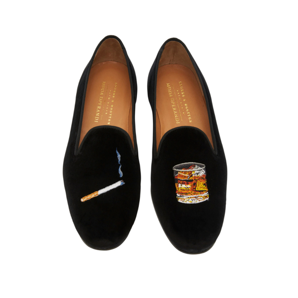 Large stubbs and wooton m o exclusive cigarette and scotch velvet slippers