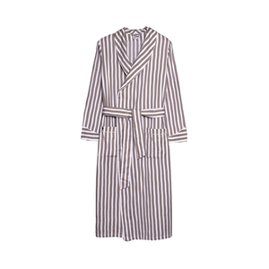Medium 8516 dressing gown thick stripes cotton herringbone concrete white