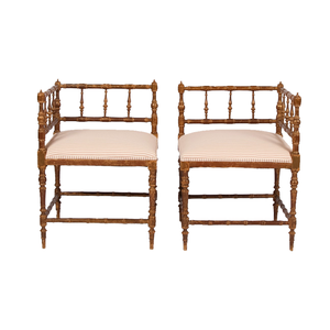Medium pair of 20th centuryfrench cornerarmchairs