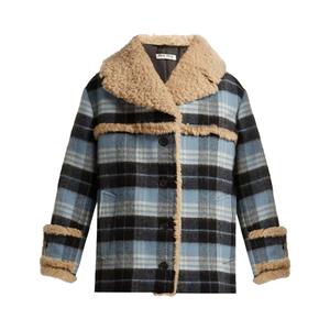 Medium miu miuplaid wool blend and shearling coat