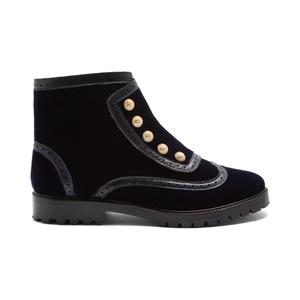 Medium rue bateman street brogue detail velvet ankle boots