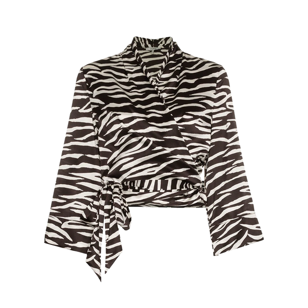 Large ganniblakely zebra print silk wrap top
