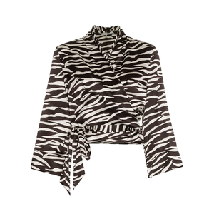 Medium ganniblakely zebra print silk wrap top