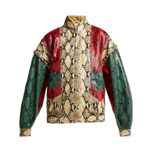 Medium gucci  python print leather bomber jacket