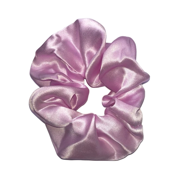 Large hai pink frill scrunchie