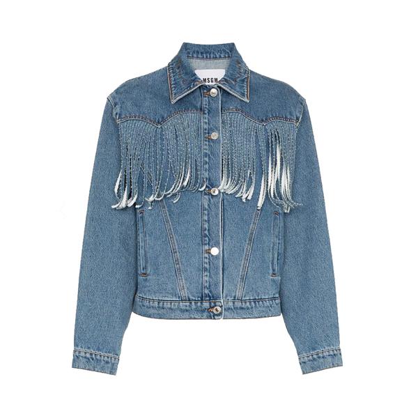 Large msgm fringed denim jacket