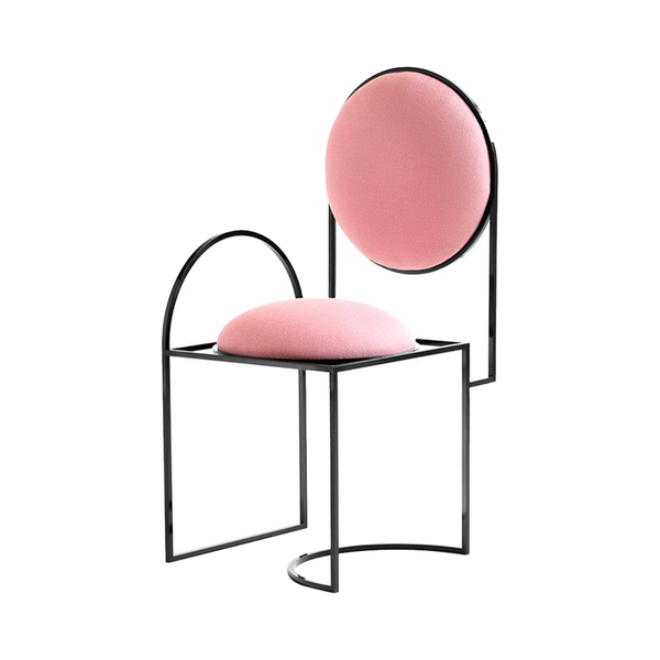 Large pamonosolar chair in steel   pink wool by bohinc studio