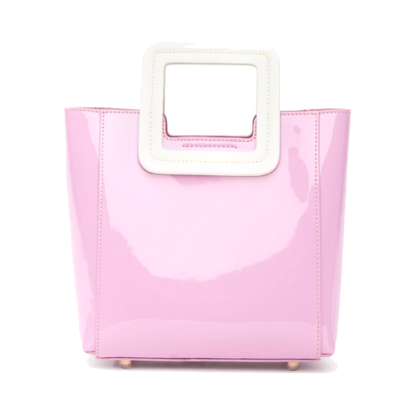 Large mini shirley bag pink patent   white patent