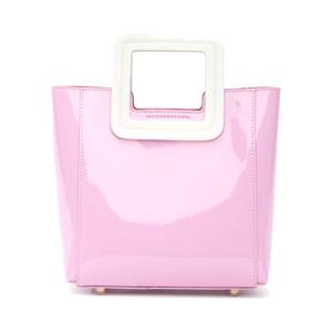 Medium mini shirley bag pink patent   white patent